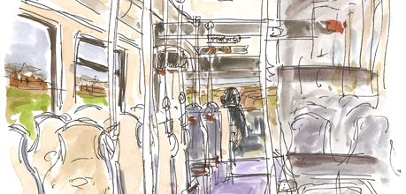 Sketches from on board an Edinburgh Tram