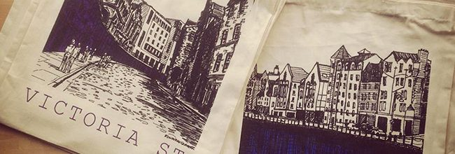 Edinburgh screen printed 100% cotton bags