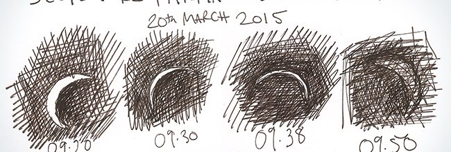 Sketches from Scotland's partial eclipse