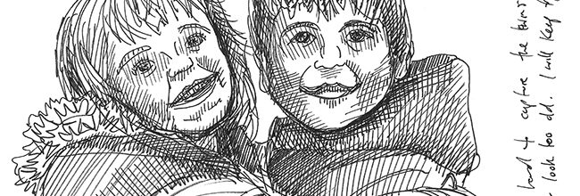 The Sketcher Twins in pen and ink