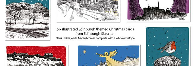 Edinburgh views as illustrated Christmas cards