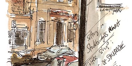 Coffee and sketching in Stockbridge, Edinburgh