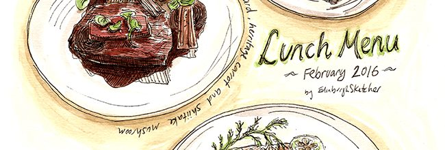 Lunch Menu sketching at the North Bridge Brasserie, Edinburgh