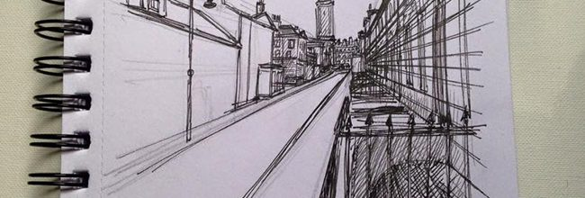 Sketching Stafford Street in stages.