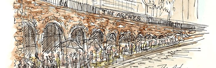 New Waverley Arches open on a sunny evening in May
