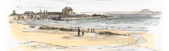 Beach sketching in warmer weather, at Elie in Fife