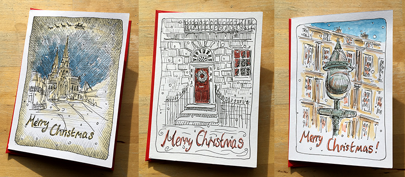 Make Christmas cards from your West End sketches