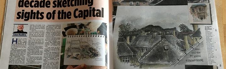Celebrating 10 years of EdinburghSketcher with a feature in the local paper.