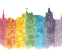 Edinburgh Skyline in Rainbow