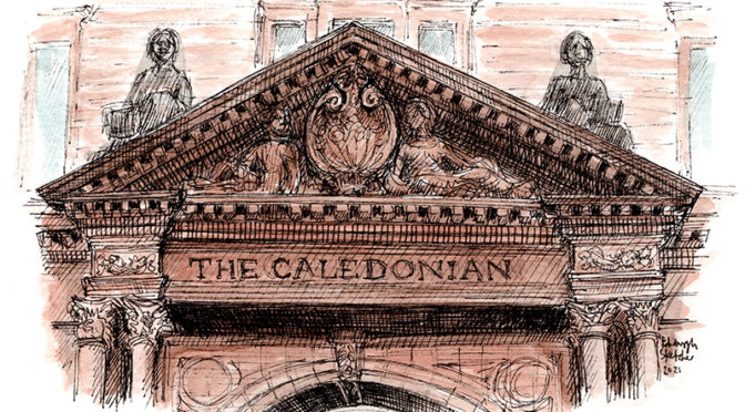 Beautiful red stone pediment above the caledonian