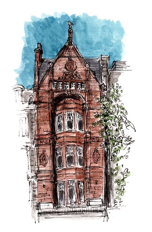ink and watercolour sketch of a princes street building