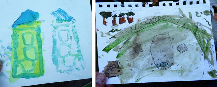 The twins watercolour drawings of our tent