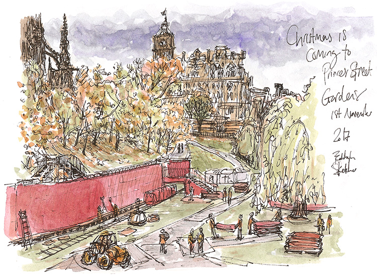 Princes St Gardens building Christmas