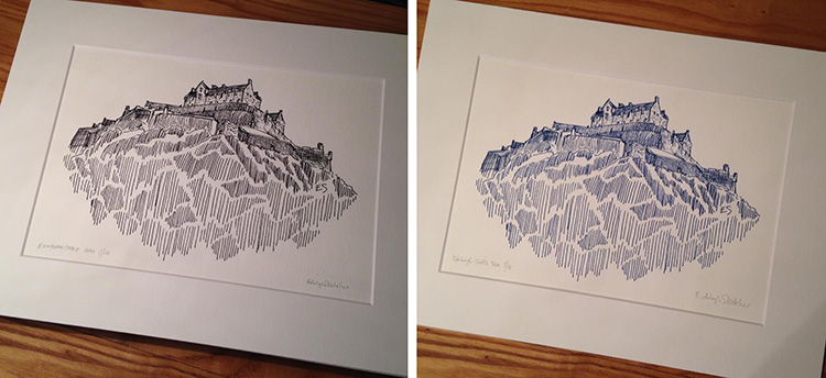 The Mounted prints are available in 'original black' or saltire blue'